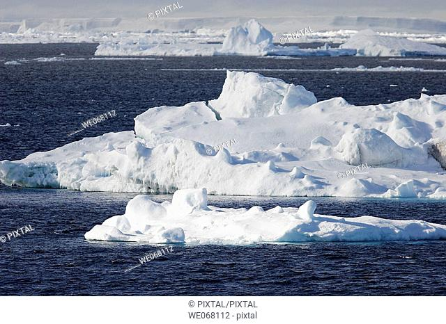 Icebergs in the Weddell Sea off the east coast of the Antarctic Peninsula. Ice is melting in this area of Antarctica at an alarming rate