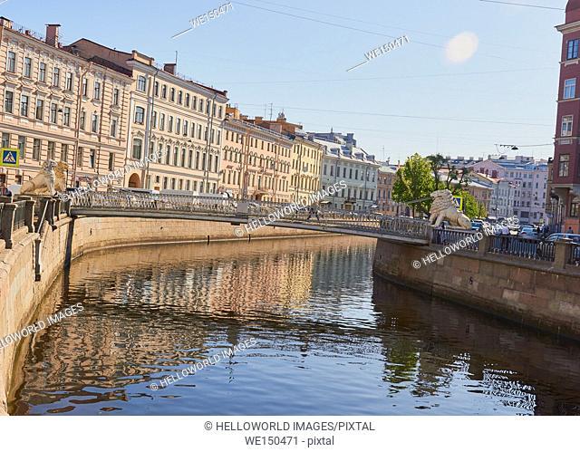 Lion Bridge a pedestrian suspension bridge dating from 1825-6, Sennaya Ploshchad, St Petersburg, Russia