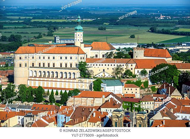 Aerial view from Foly Hill on Mikulov town with Castle - former Liechtenstein and later Diestrichstein chateau, Czech Republic