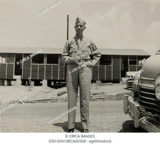 Soldier in Uniform, Portrait, WWII, HQ 2nd Battalion, 389th Infantry, US Army Military Base, Indiana, USA, 1942