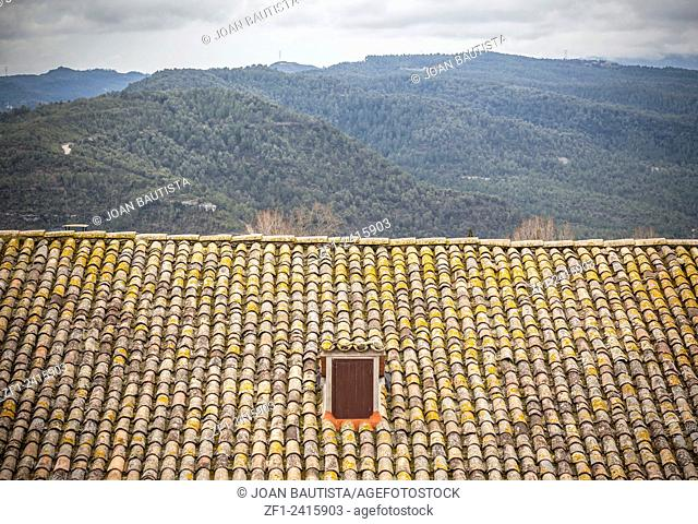 Tile roof and mountains, Calders,Catalonia,Spain