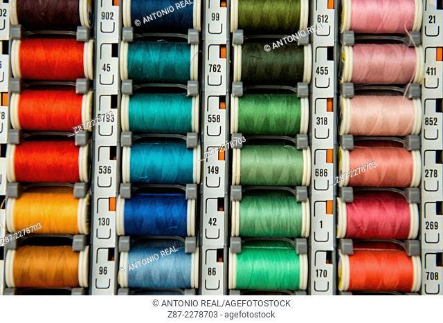 Thread spools at market, Almansa, Albacete province, Castilla-La Mancha, Spain