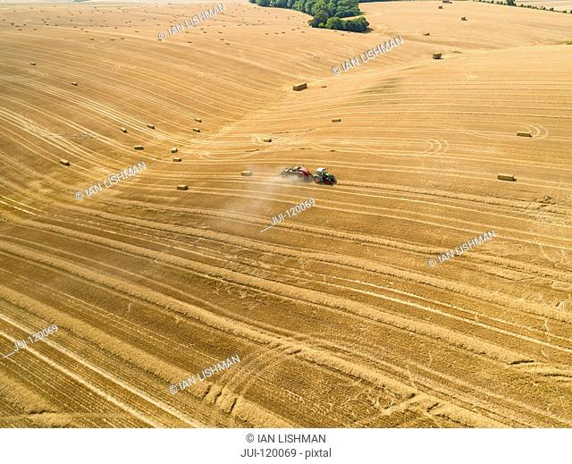 Aerial of tractor baler making straw bales in field after wheat harvest in summer on farm