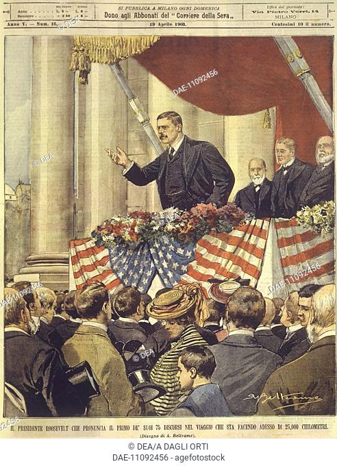 United States of America, 20th century - President F. D. Roosevelt delivers his first speech after the election. Cover illustration from La Domenica del...