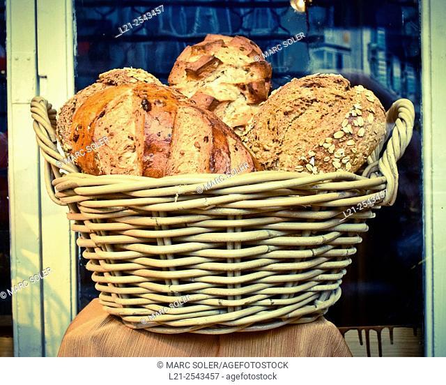 Bread in a basket. Barcelona, Catalonia, Spain