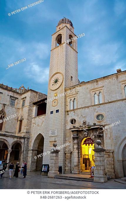 Bell tower, Luza square, Grad, the old town, Dubrovnik, Dalmatia, Croatia