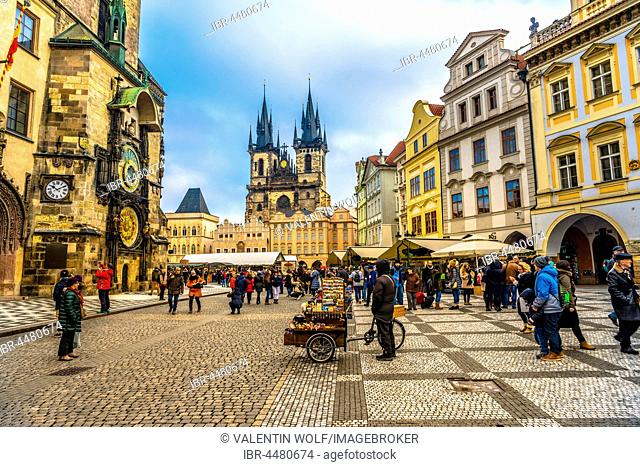 Astronomical clock on Old Town Hall, Tyn Cathedral, Christmas market on the Old Town Square, historic centre, Prague, Czech Republic