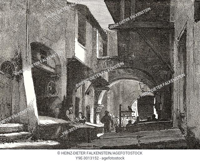 Old Roman Fish Market, La Pescheria, via del Portico d'Ottavia, Rome, Jewish Ghetto, Italy, 19th Century