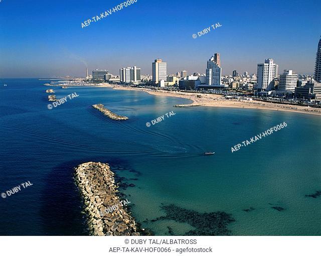 Low altitude view of the coastline of Tel Aviv