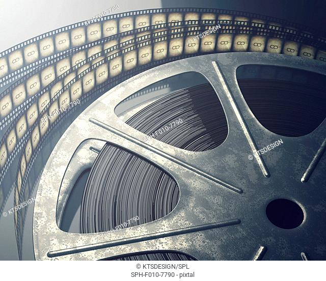 Old fashioned movie reel, computer illustration