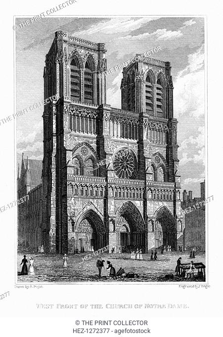 West front of the Church of Notre Dame de Paris, France, 1828