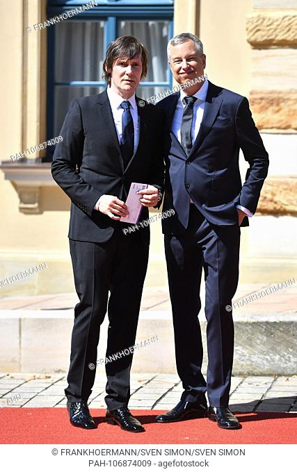 Comedian Thomas Hermanns and his husband Wolfgang Macht on their arrival. Opening of the Bayreuth Richard Wagner Festival 2018. Red carpet on 25.07