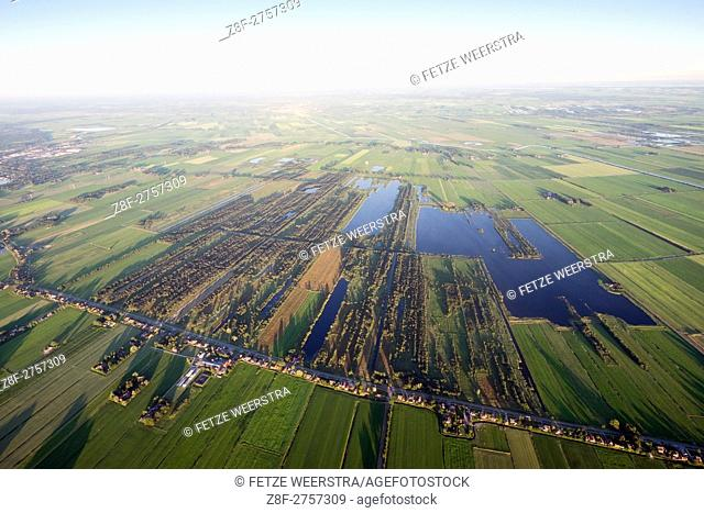Aerial view of Frisian landscapes in the Netherlands
