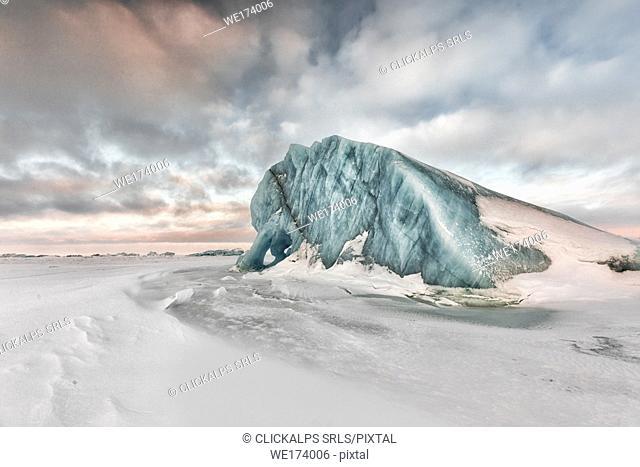 On the sea ice off Spitsbergen east coast, Svalbard, Norway