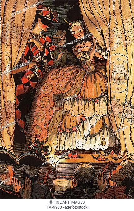 Illustration to The Book of Marquise by Franz Blei. Somov, Konstantin Andreyevich (1869-1939). Colour aquatint. Art Nouveau. 1918. Private Collection