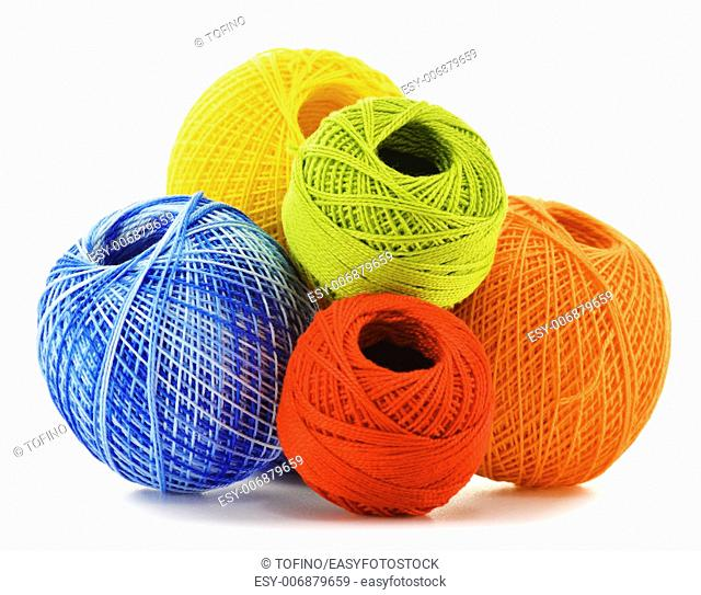 Colorful yarn for crocheting isolated on white background