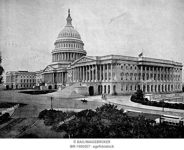 One of the first halftones, the United States Capitol in Washington, USA, 1880