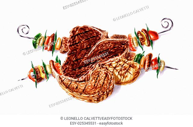 Grilled mixed steaks and skewers composition. Airbrush illustration. On white background with clipping path included