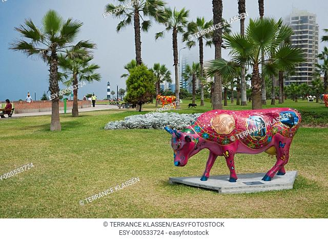 Statue of colorful cows in Love Park, Miraflores, Lima, Peru, South America