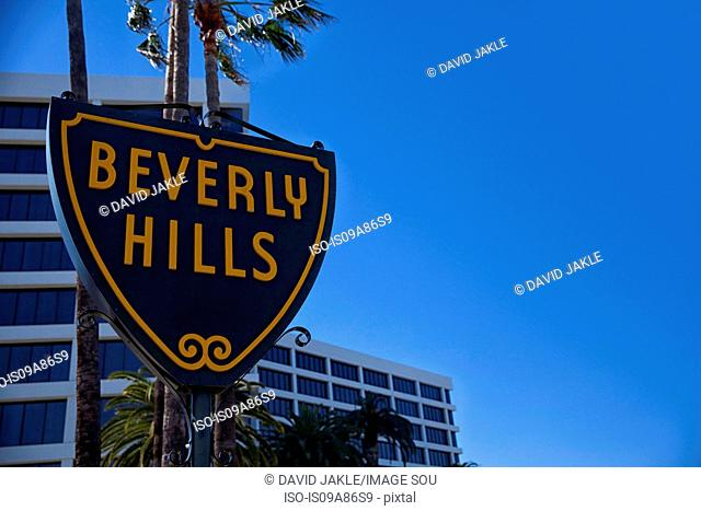Beverly Hills sign against blue sky