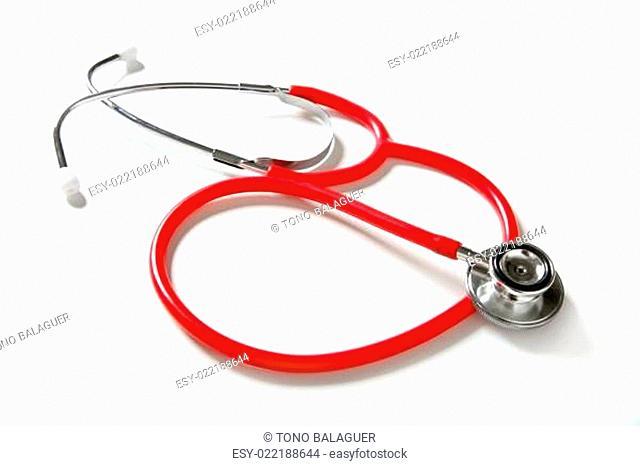 Medical still photo, stethoscope over white