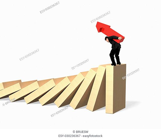 Man carrying red arrow up symbol standing on the last piece of dominoes falling, isolated on white background