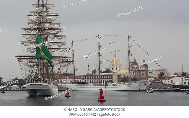 School boat Cisne Branco of the Navy of Brazil and The school ship Cuauhtémoc of the Mexican Navy anchored in the bay of Cartagena for the sailboat show