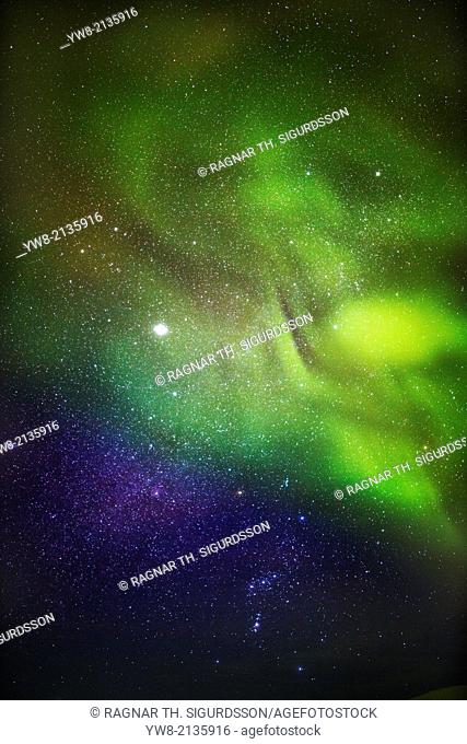 Aurora Borealis or Northern Lights with Milky Way Galaxy, Lapland, Sweden. Cold temperatures as low as -47 celsius