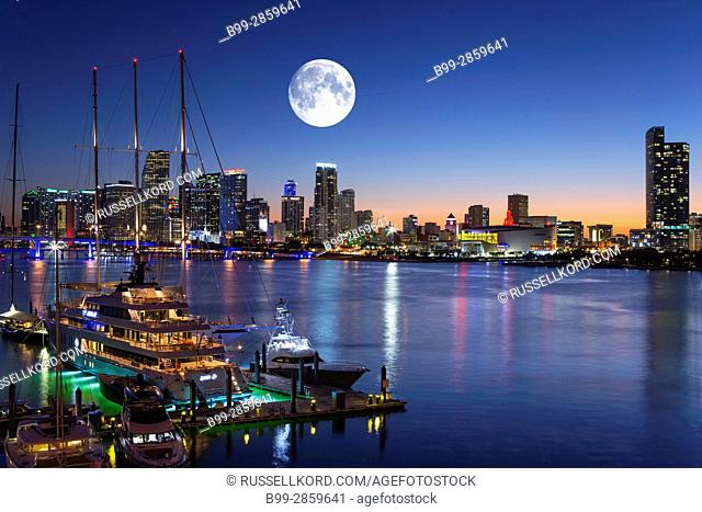 SUPERYATCHS MOORED AT ISLAND GARDENS MARINA WATSON ISLAND DOWNTOWN SKYLINE MIAMI FLORIDA USA