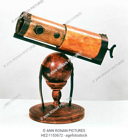 Isaac Newton's reflecting telescope, 1668. Isaac Newton (1642-1727), English scientist and mathematician built the first ever reflecting telescope in 1668