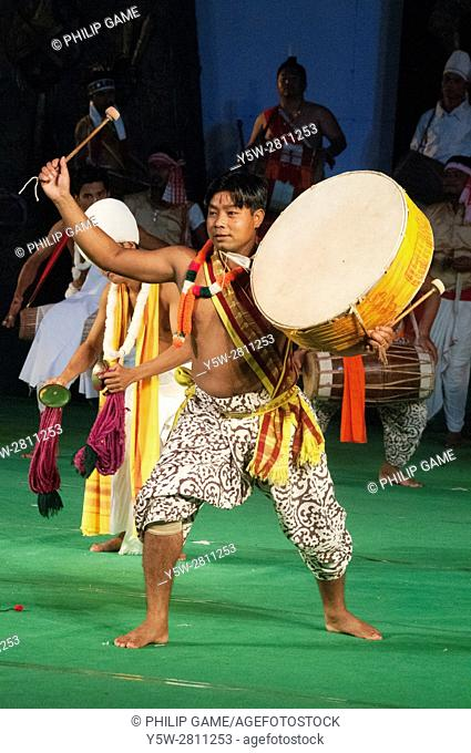 Pung Dholl Dollak Chalom dancers from Manipur performing in 'Colours of NE India' at the Sangai Festival, Imphal, India