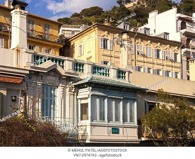 Architecture of colourful buildings with a sea view on Quai des États-Unis, Nice, France