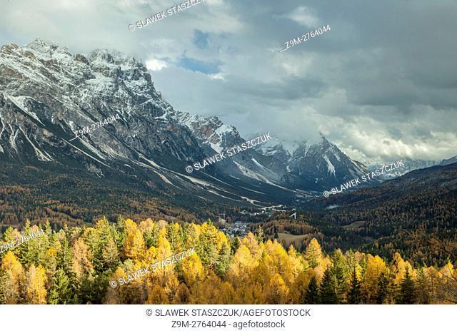 Sunny autumn day in the Dolomites near Cortina d'Ampezzo, Belluno province, Veneto region, Italy. Dolomites
