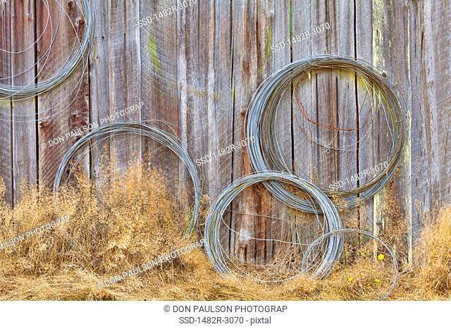 USA, Washington, Silverdale, Historic Petersen Farm, Wire coiled on wall