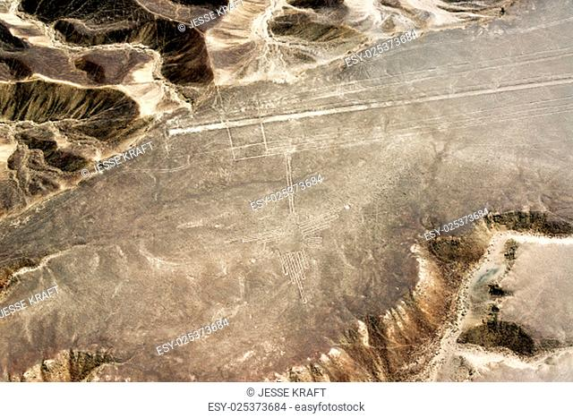 Nazca Lines hummingbird geoglyph and surrounding countryside in Peru