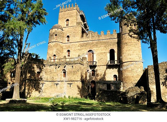 historic Fasiladas Palace, Royal Enclosure Fasil Ghebbi, UNESCO World Heritage Site, Gonder, Gondar, Amhara, Ethiopia, Africa