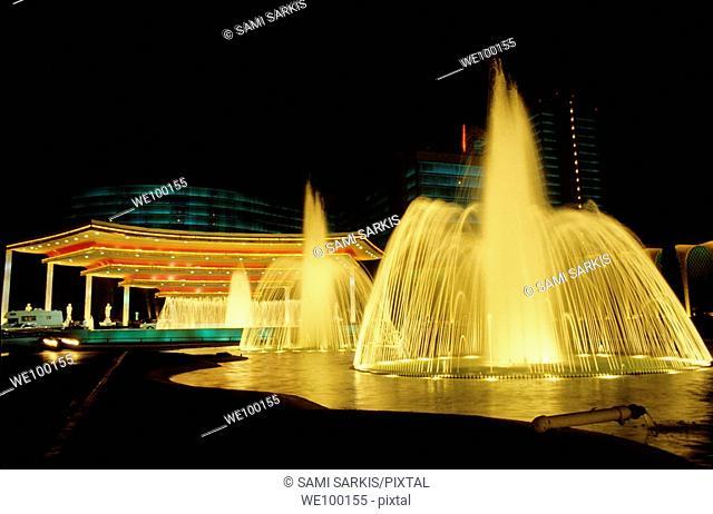 Water fountains outside Caesars Palace at night, Las Vegas, Nevada, USA