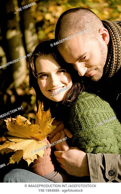 Czech Republic, Young couple in park