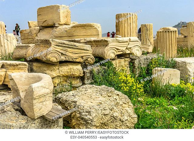 Ruins Temple of Augustus Rome Acropolis Athens Greece. Temple of Augustus and Rome created on the Acropolis in 27 BC. Acropolis is the symbol of Greece