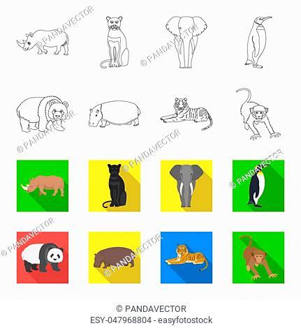 Bamboo bear, hippopotamus, wild animal tiger, monkey . Wild animal set collection icons in outline,flet style bitmap symbol stock illustration