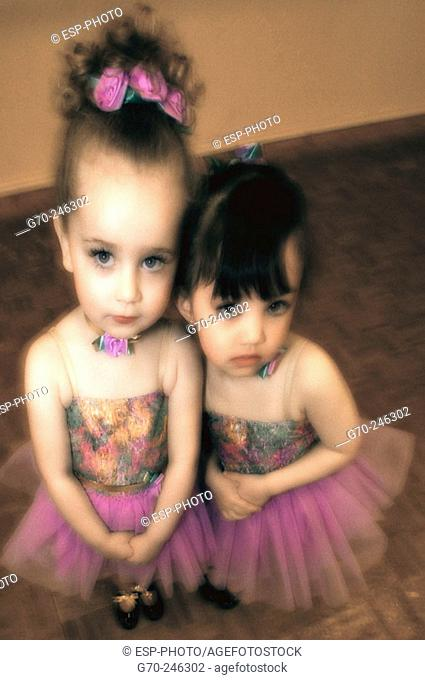 Portrait of Young Girls in Dance Costumes