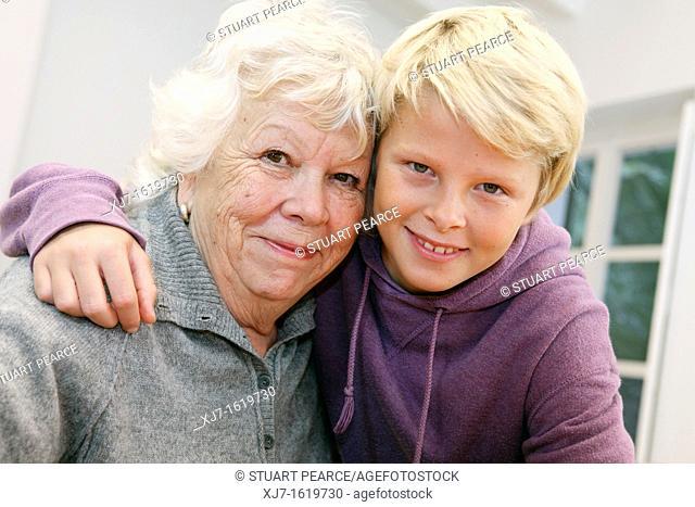 Senior woman with grandson
