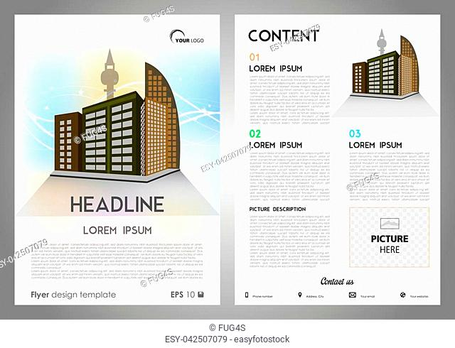 Vector flyer, corporate business, annual report, brochure design and cover presentation with building