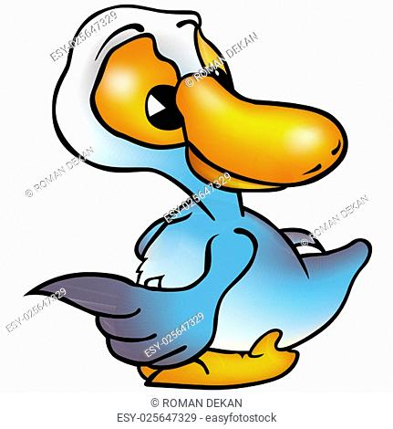 Blue Duck Pointing - Colored Cartoon Illustration, Vector