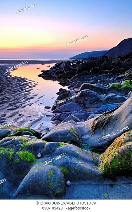 Sandymouth beach at dusk  Bude, Cornwall, England, United Kingdom