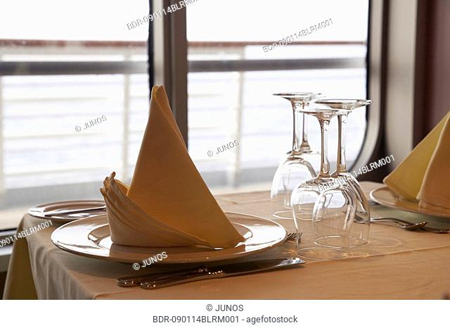 place setting in restaurant on cruise ship