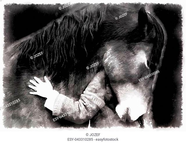 loving horse and a girl, girl hugging a horse. computer painting effect