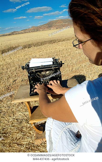 Woman with typewriter