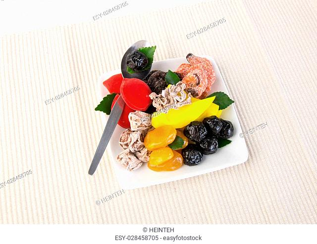 preserved fruits & Dried fruits. Food Snack on Background