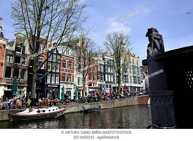 Traditional houses and canal. Amsterdam, Netherlands